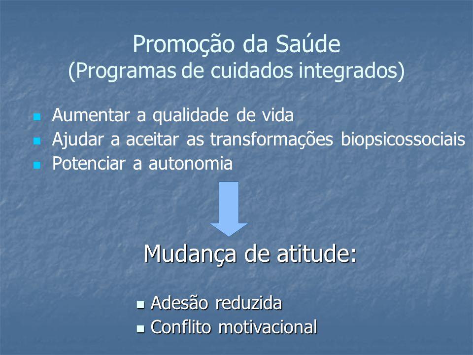 Promoção da Saúde (Programas de cuidados integrados) Aumentar a qualidade de vida Ajudar a aceitar as transformações biopsicossociais Potenciar a autonomia Mudança de atitude: Adesão reduzida Adesão reduzida Conflito motivacional Conflito motivacional