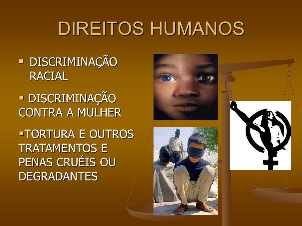 DIREITOS HUMANOS  DISCRIMINAÇÃO RACIAL  DISCRIMINAÇÃO CONTRA A MULHER  TORTURA E OUTROS TRATAMENTOS E PENAS CRUÉIS OU DEGRADANTES