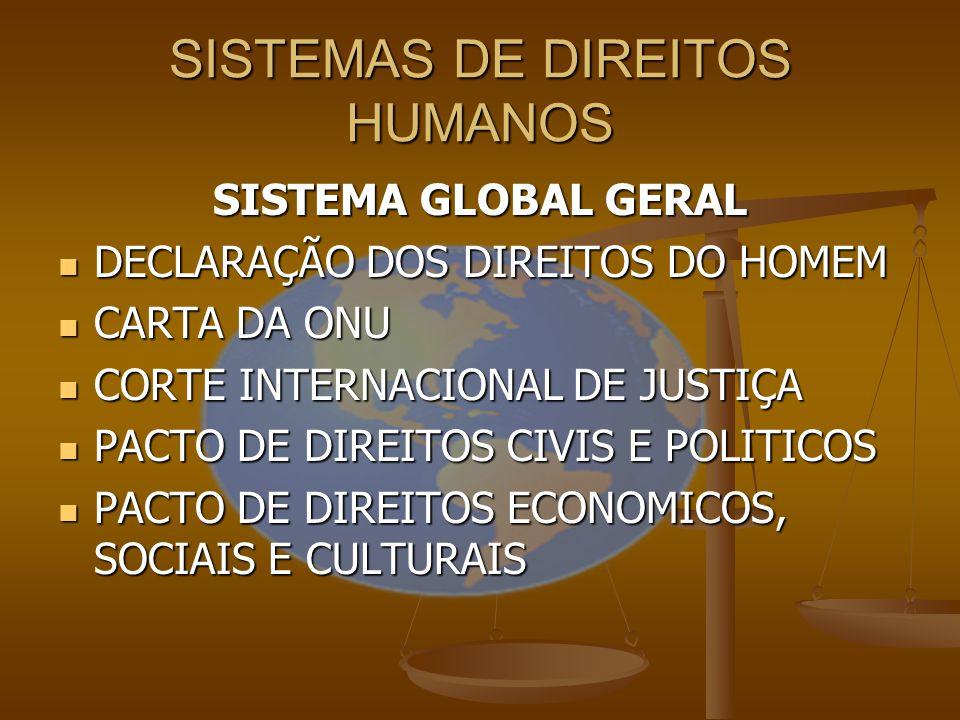 SISTEMA GLOBAL GERAL DECLARAÇÃO DOS DIREITOS DO HOMEM CARTA DA ONU CORTE INTERNACIONAL DE JUSTIÇA PACTO DE DIREITOS CIVIS E POLITICOS PACTO DE DIREITO