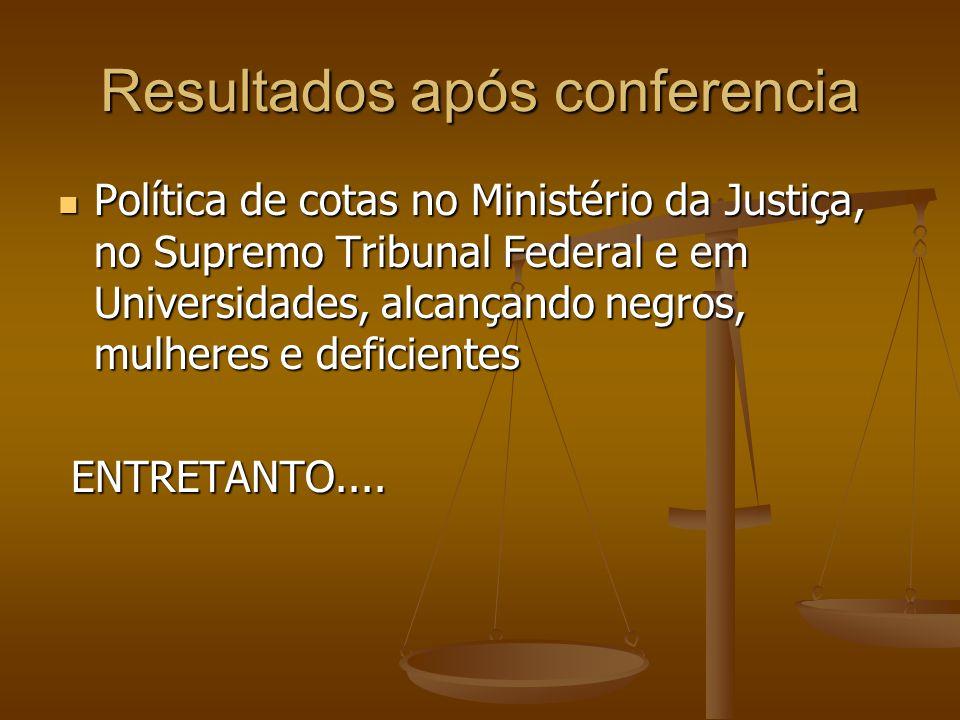 Resultados após conferencia Política de cotas no Ministério da Justiça, no Supremo Tribunal Federal e em Universidades, alcançando negros, mulheres e