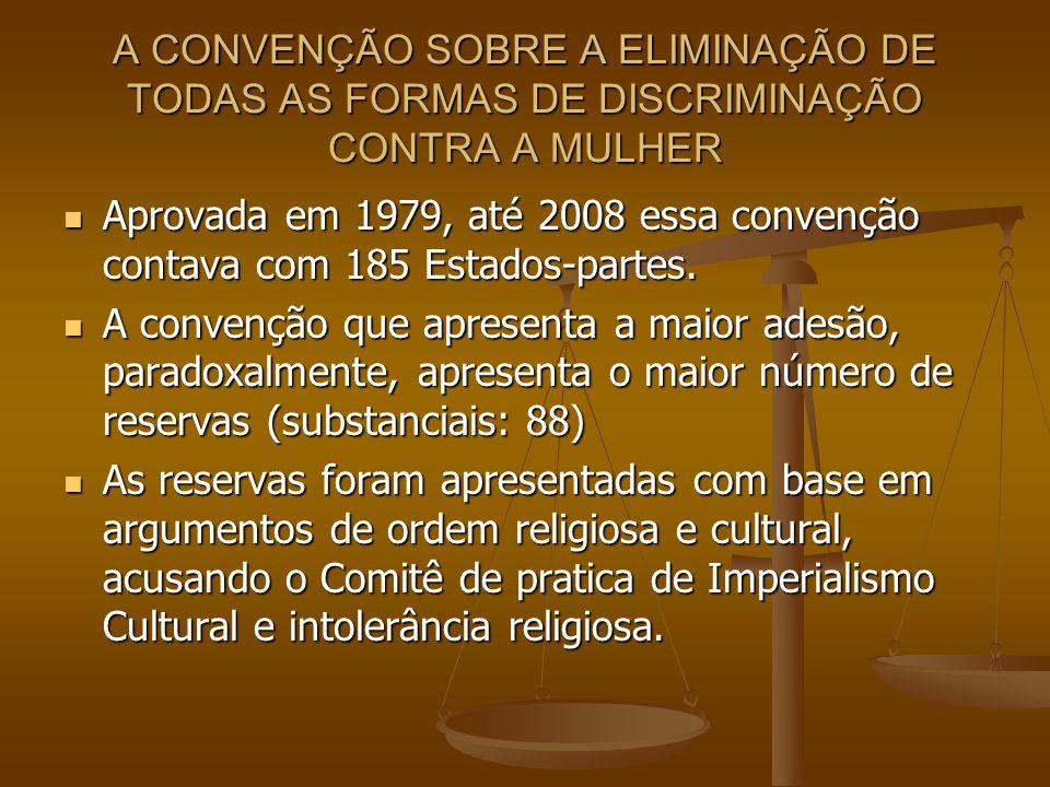 A CONVENÇÃO SOBRE A ELIMINAÇÃO DE TODAS AS FORMAS DE DISCRIMINAÇÃO CONTRA A MULHER Aprovada em 1979, até 2008 essa convenção contava com 185 Estados-p