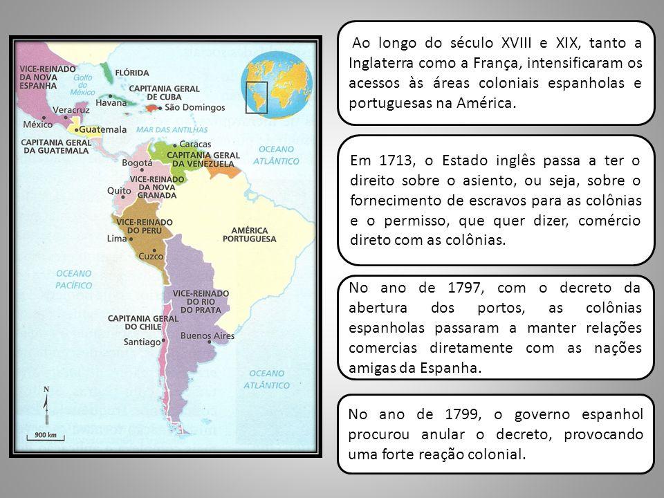 No ano de 1797, com o decreto da abertura dos portos, as colônias espanholas passaram a manter relações comercias diretamente com as nações amigas da Espanha.