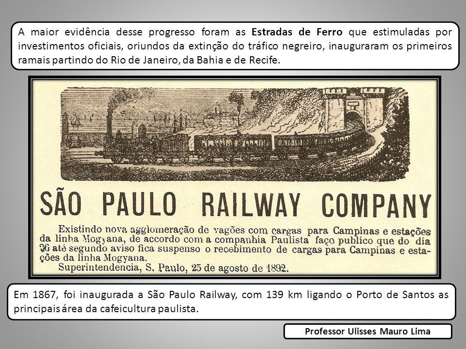 A maior evidência desse progresso foram as Estradas de Ferro que estimuladas por investimentos oficiais, oriundos da extinção do tráfico negreiro, inauguraram os primeiros ramais partindo do Rio de Janeiro, da Bahia e de Recife.