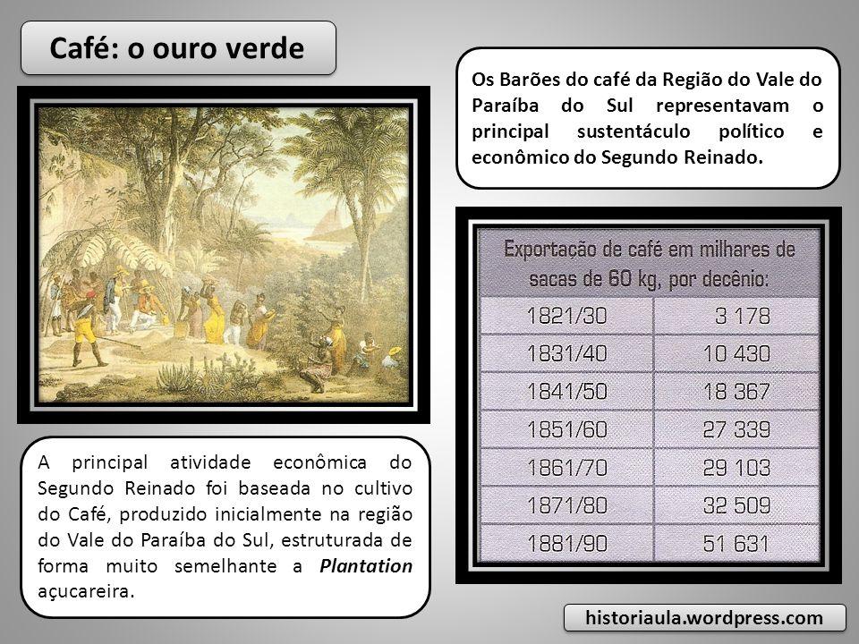 Café: o ouro verde A principal atividade econômica do Segundo Reinado foi baseada no cultivo do Café, produzido inicialmente na região do Vale do Paraíba do Sul, estruturada de forma muito semelhante a Plantation açucareira.