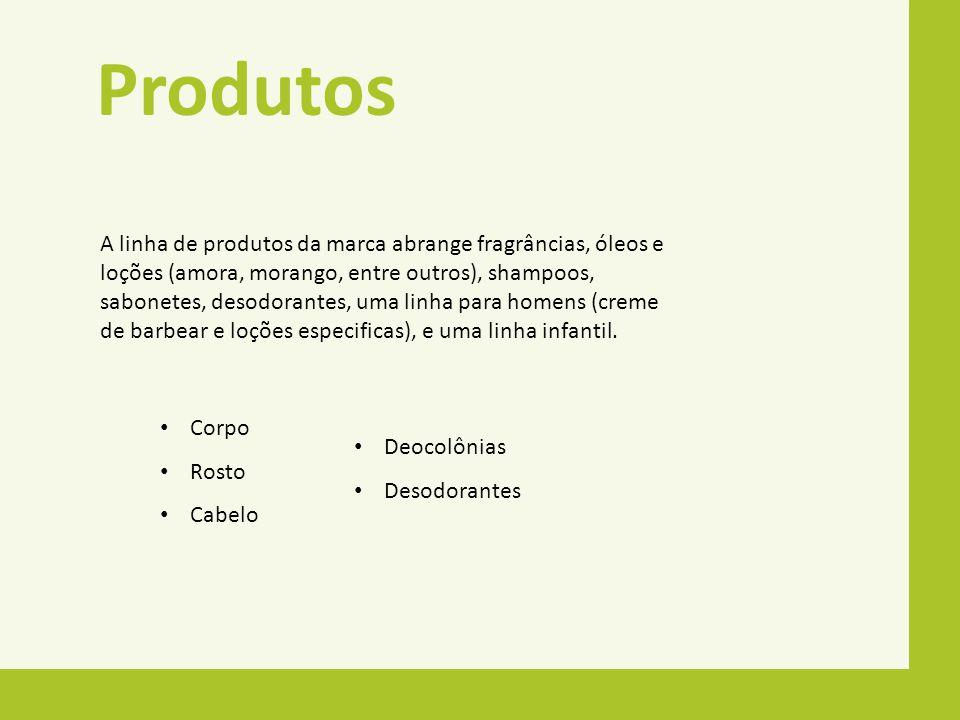 Produtos A linha de produtos da marca abrange fragrâncias, óleos e loções (amora, morango, entre outros), shampoos, sabonetes, desodorantes, uma linha
