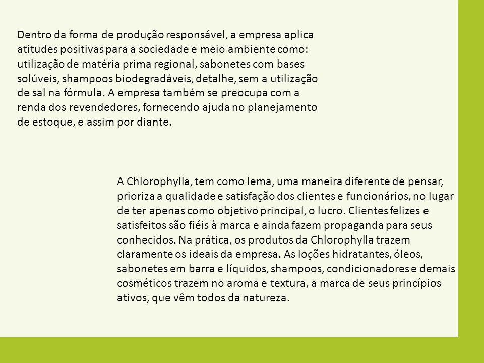 Dentro da forma de produção responsável, a empresa aplica atitudes positivas para a sociedade e meio ambiente como: utilização de matéria prima region
