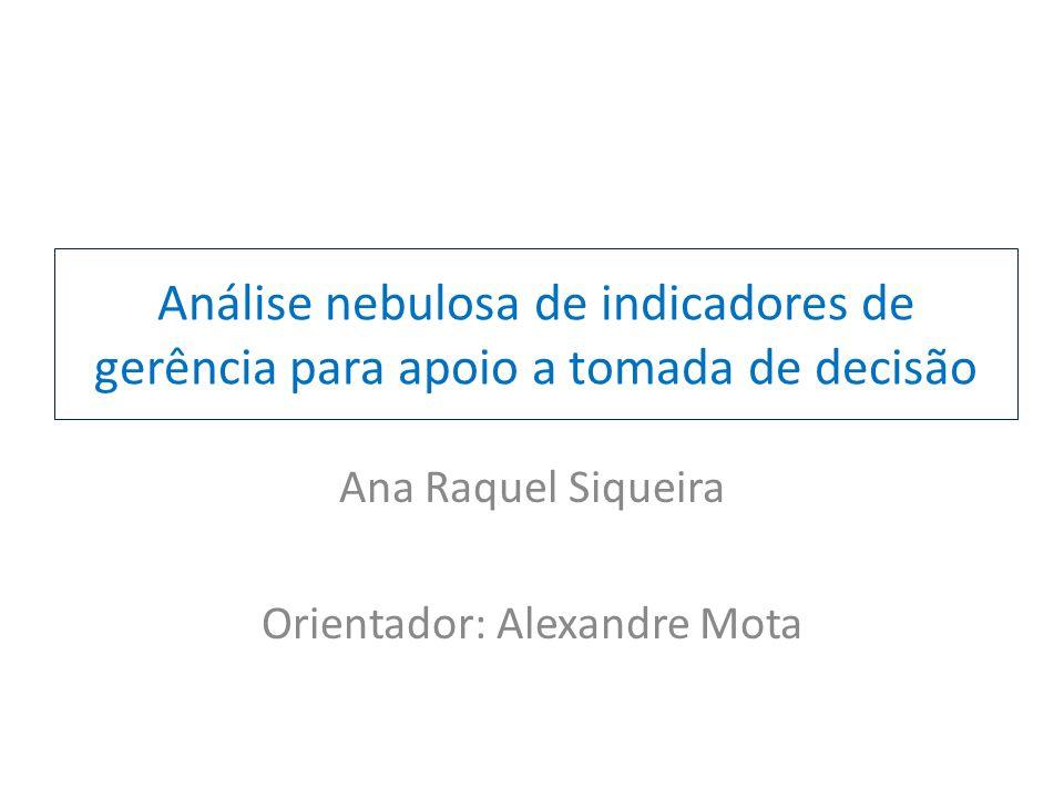 Análise nebulosa de indicadores de gerência para apoio a tomada de decisão Ana Raquel Siqueira Orientador: Alexandre Mota
