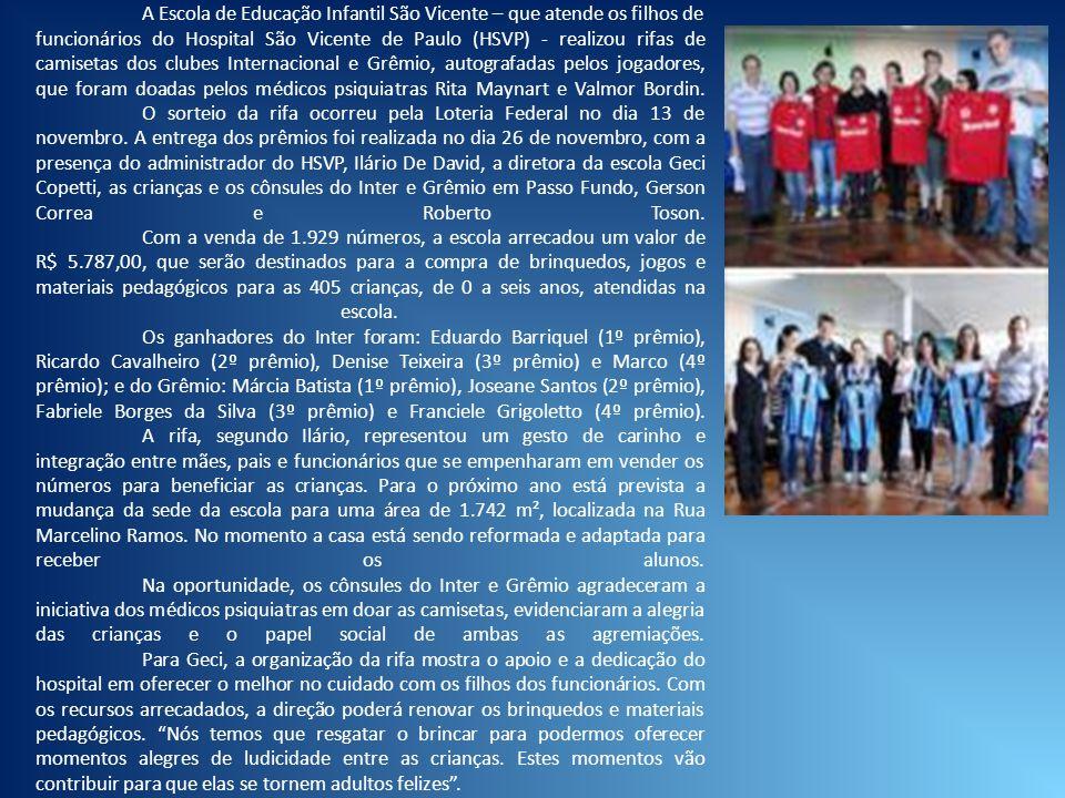A Escola de Educação Infantil São Vicente – que atende os filhos de funcionários do Hospital São Vicente de Paulo (HSVP) - realizou rifas de camisetas