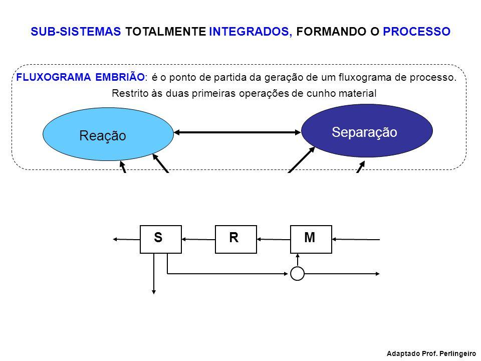 Reação Separação Integração Controle SUB-SISTEMAS TOTALMENTE INTEGRADOS, FORMANDO O PROCESSO FLUXOGRAMA EMBRIÃO: é o ponto de partida da geração de um
