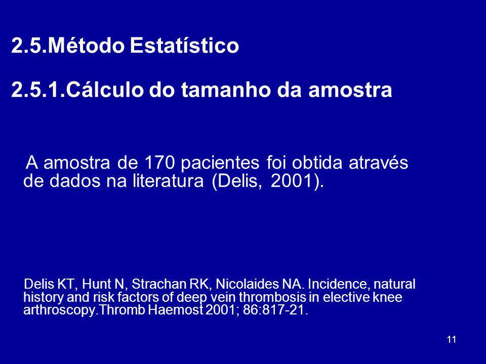 11 2.5.Método Estatístico 2.5.1.Cálculo do tamanho da amostra A amostra de 170 pacientes foi obtida através de dados na literatura (Delis, 2001). Deli