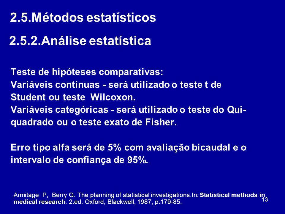 13 2.5.Métodos estatísticos 2.5.2.Análise estatística Teste de hipóteses comparativas: Variáveis contínuas - será utilizado o teste t de Student ou te