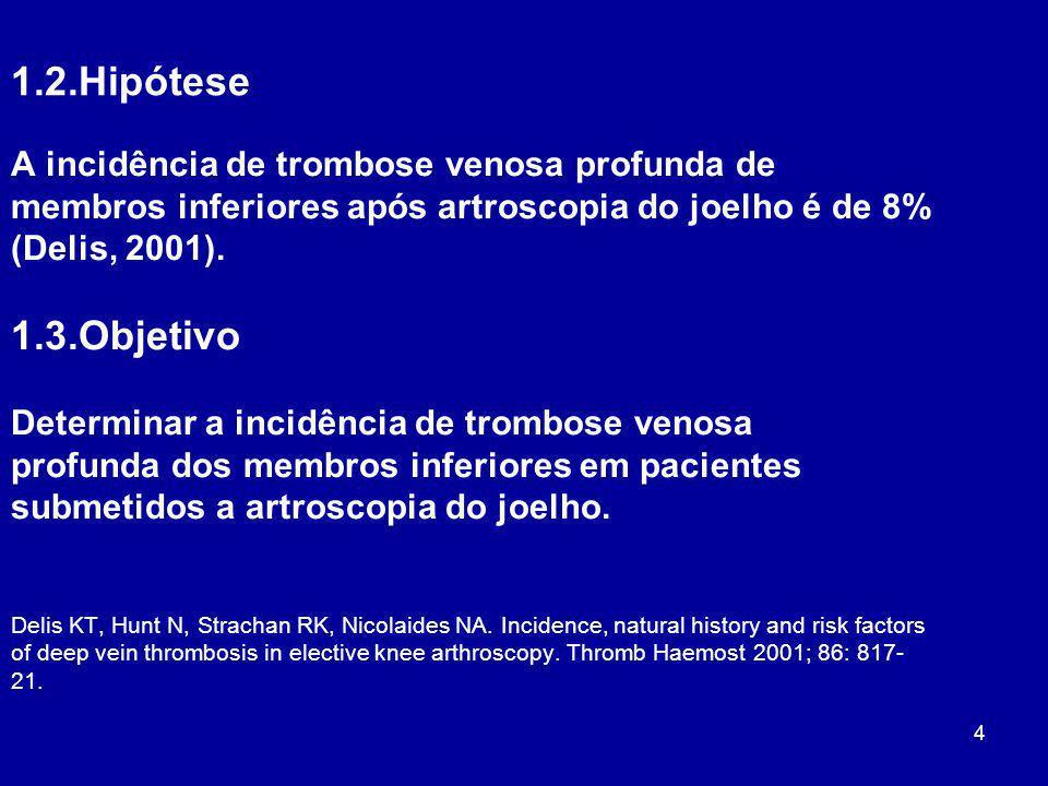 4 1.2.Hipótese A incidência de trombose venosa profunda de membros inferiores após artroscopia do joelho é de 8% (Delis, 2001). 1.3.Objetivo Determina
