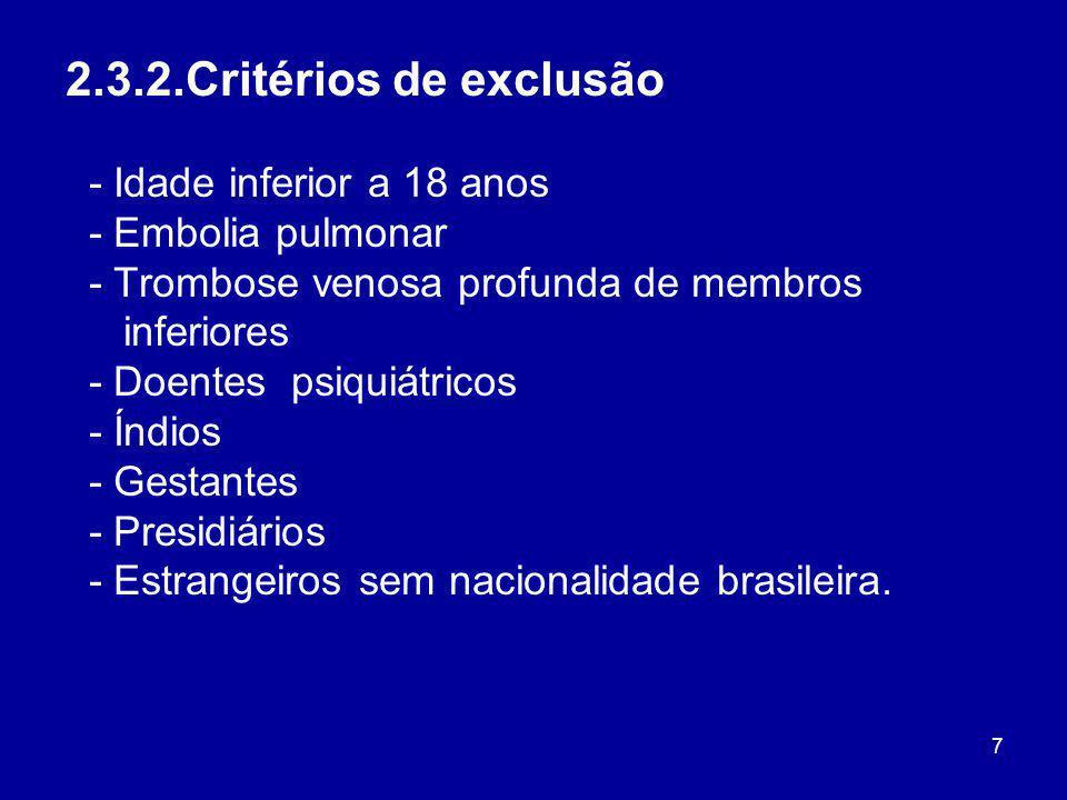 7 2.3.2.Critérios de exclusão - Idade inferior a 18 anos - Embolia pulmonar - Trombose venosa profunda de membros inferiores - Doentes psiquiátricos -