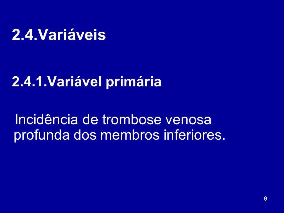 9 2.4.Variáveis 2.4.1.Variável primária Incidência de trombose venosa profunda dos membros inferiores.