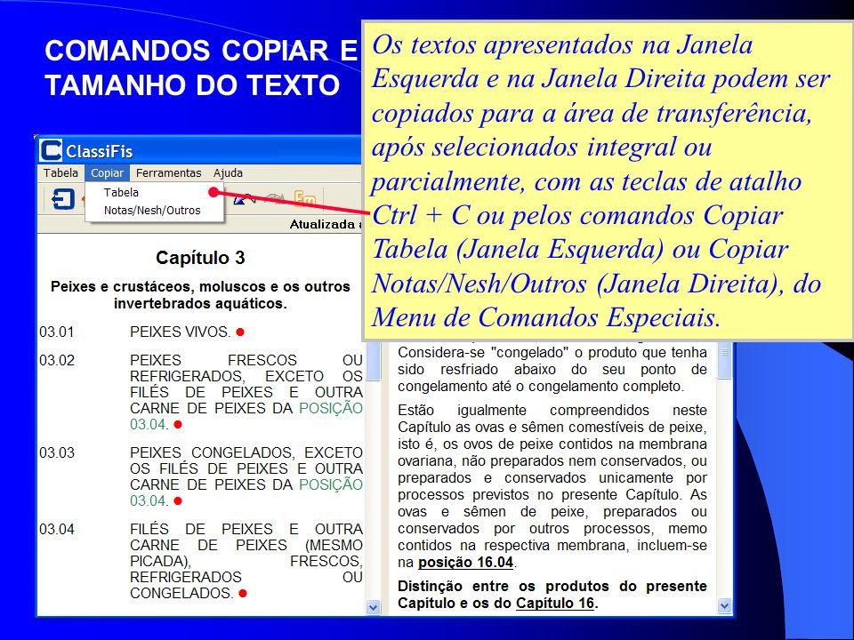 COMANDOS COPIAR E TAMANHO DO TEXTO Os textos apresentados na Janela Esquerda e na Janela Direita podem ser copiados para a área de transferência, após