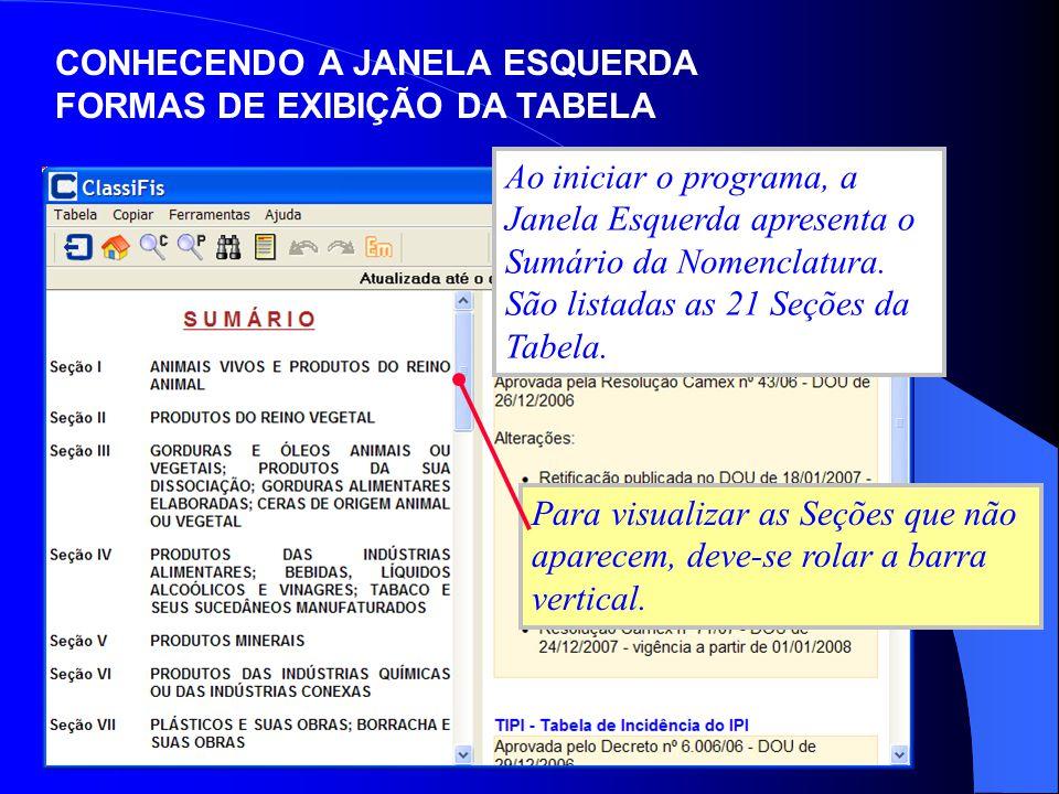 CONHECENDO A JANELA ESQUERDA FORMAS DE EXIBIÇÃO DA TABELA Ao iniciar o programa, a Janela Esquerda apresenta o Sumário da Nomenclatura. São listadas a