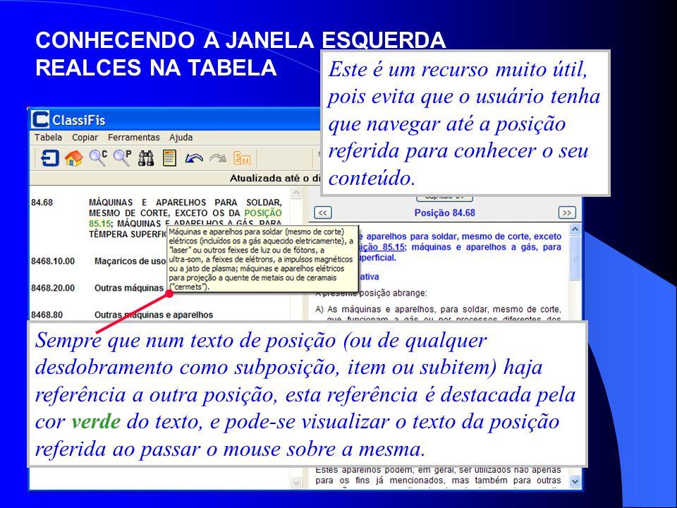 CONHECENDO A JANELA ESQUERDA REALCES NA TABELA Sempre que num texto de posição (ou de qualquer desdobramento como subposição, item ou subitem) haja re