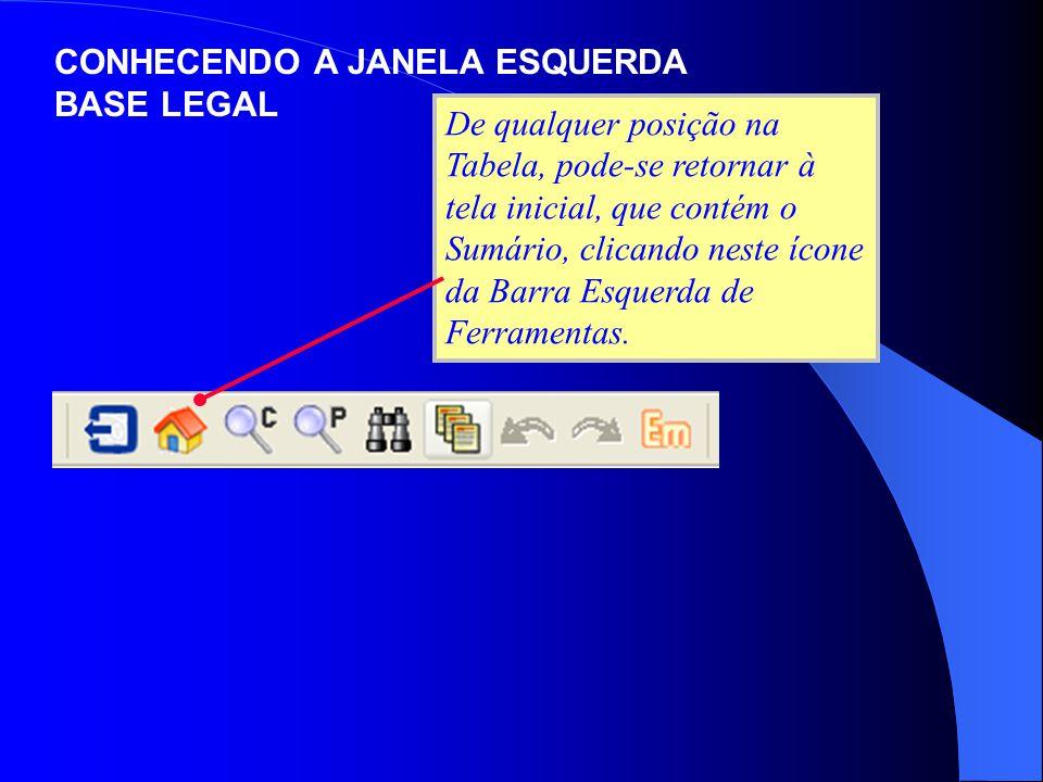De qualquer posição na Tabela, pode-se retornar à tela inicial, que contém o Sumário, clicando neste ícone da Barra Esquerda de Ferramentas. CONHECEND