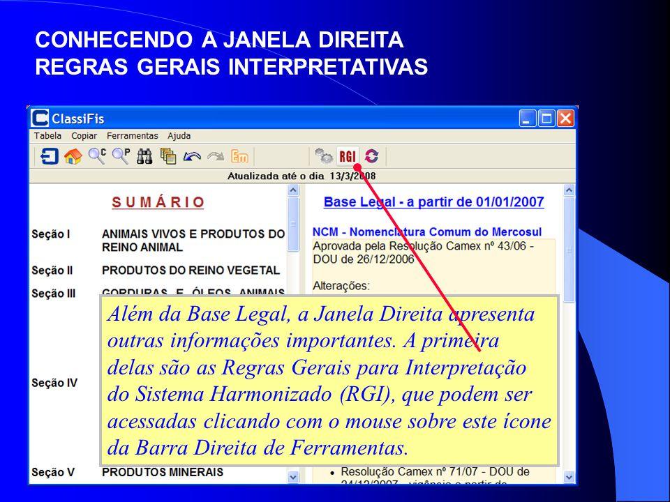 CONHECENDO A JANELA DIREITA REGRAS GERAIS INTERPRETATIVAS Além da Base Legal, a Janela Direita apresenta outras informações importantes. A primeira de