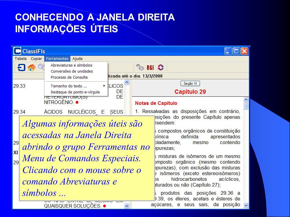 Algumas informações úteis são acessadas na Janela Direita abrindo o grupo Ferramentas no Menu de Comandos Especiais. Clicando com o mouse sobre o coma