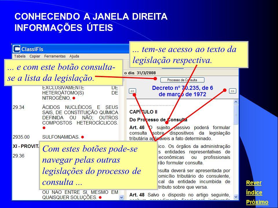 CONHECENDO A JANELA DIREITA INFORMAÇÕES ÚTEIS Rever Índice Próximo... tem-se acesso ao texto da legislação respectiva. Com estes botões pode-se navega