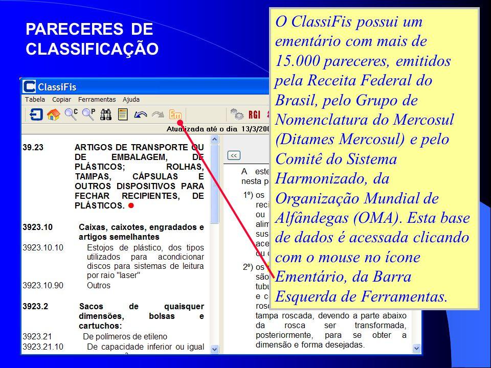 PARECERES DE CLASSIFICAÇÃO O ClassiFis possui um ementário com mais de 15.000 pareceres, emitidos pela Receita Federal do Brasil, pelo Grupo de Nomenc