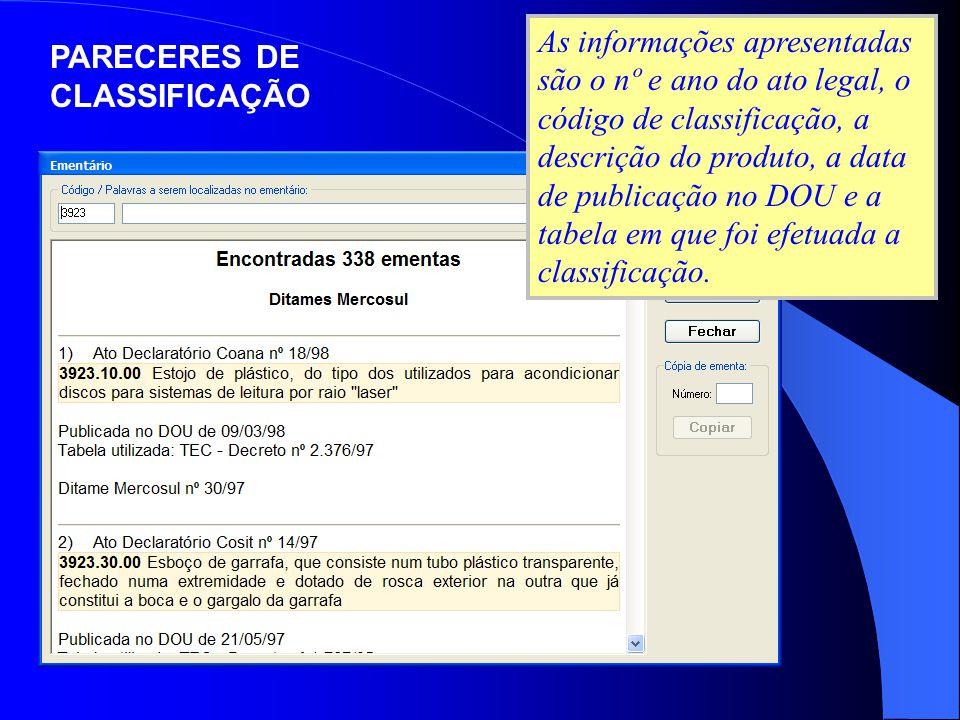 As informações apresentadas são o nº e ano do ato legal, o código de classificação, a descrição do produto, a data de publicação no DOU e a tabela em