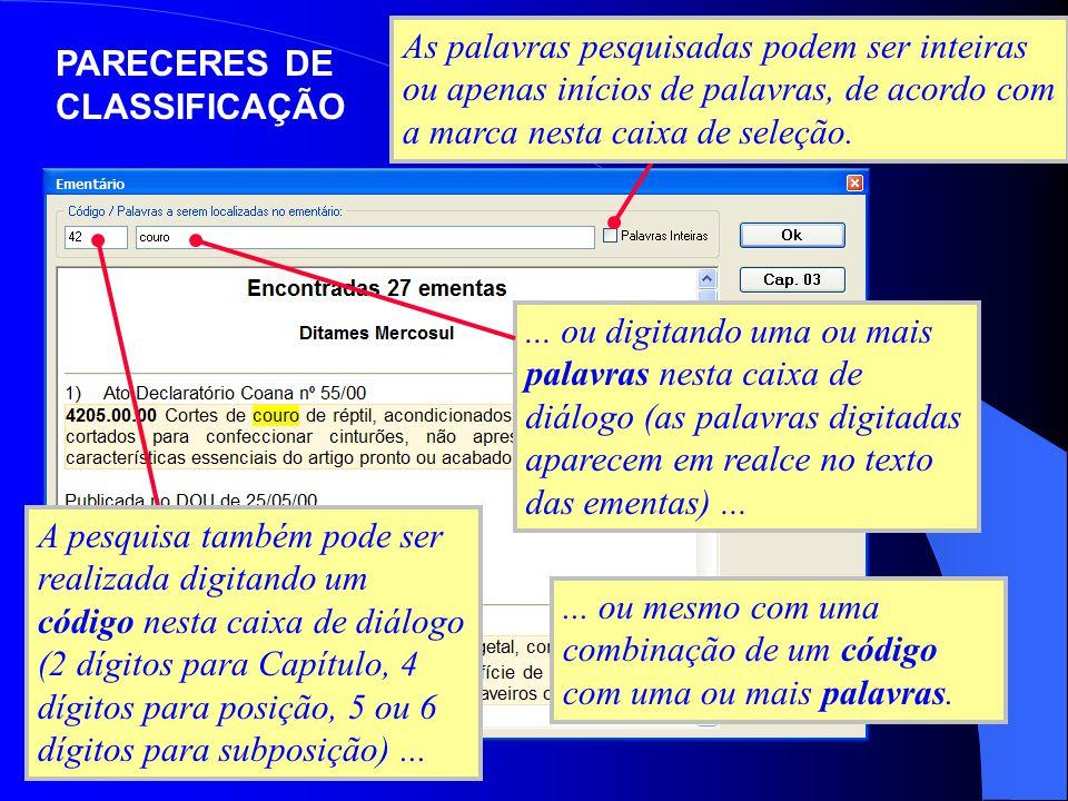 A pesquisa também pode ser realizada digitando um código nesta caixa de diálogo (2 dígitos para Capítulo, 4 dígitos para posição, 5 ou 6 dígitos para
