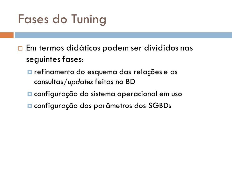 Fases do Tuning  Em termos didáticos podem ser divididos nas seguintes fases:  refinamento do esquema das relações e as consultas/updates feitas no BD  configuração do sistema operacional em uso  configuração dos parâmetros dos SGBDs