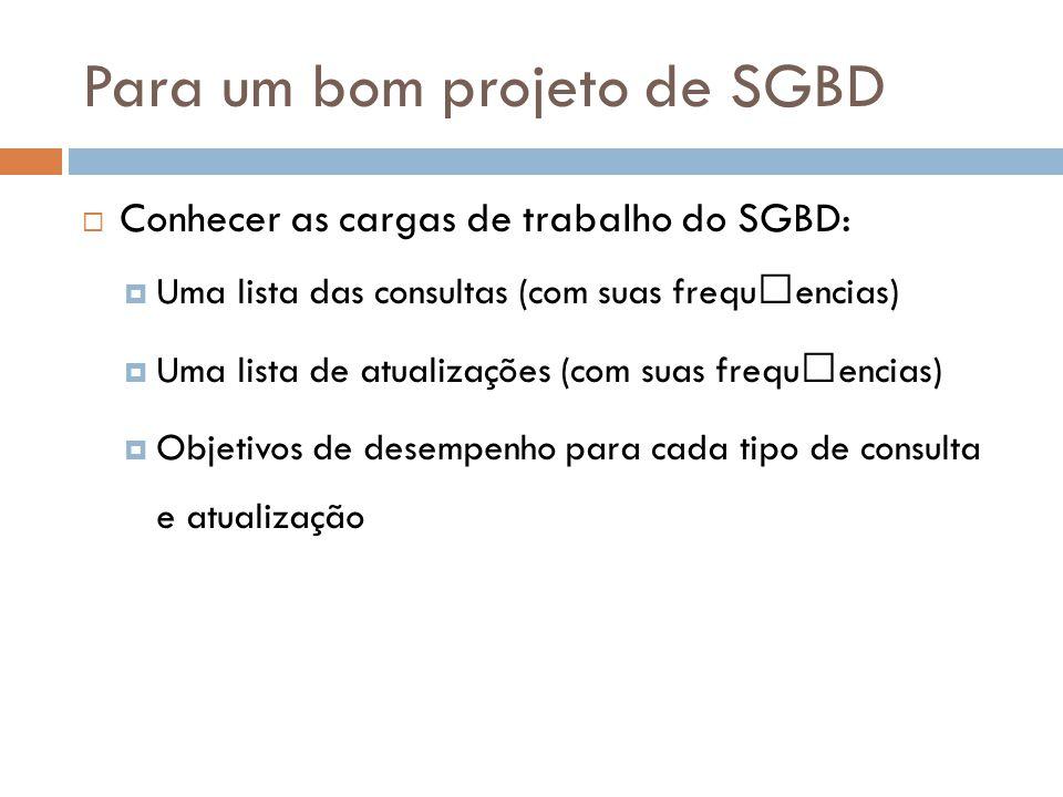Para um bom projeto de SGBD  Conhecer as cargas de trabalho do SGBD:  Uma lista das consultas (com suas frequˆencias)  Uma lista de atualizações (com suas frequˆencias)  Objetivos de desempenho para cada tipo de consulta e atualização