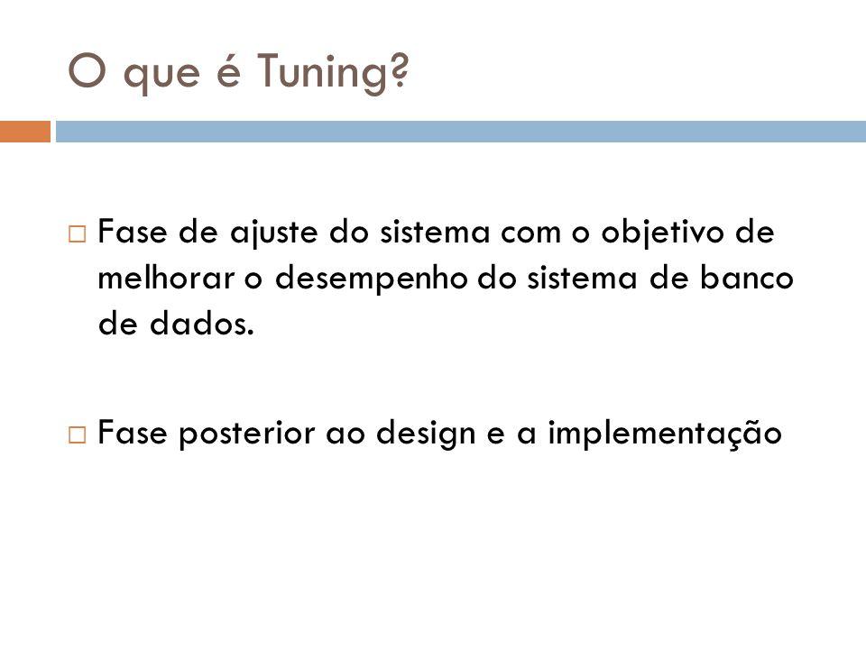 O que é Tuning?  Fase de ajuste do sistema com o objetivo de melhorar o desempenho do sistema de banco de dados.  Fase posterior ao design e a imple