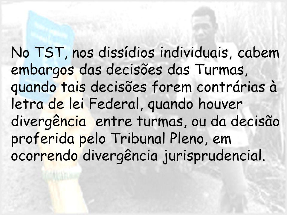 No TST, nos dissídios individuais, cabem embargos das decisões das Turmas, quando tais decisões forem contrárias à letra de lei Federal, quando houver divergência entre turmas, ou da decisão proferida pelo Tribunal Pleno, em ocorrendo divergência jurisprudencial.