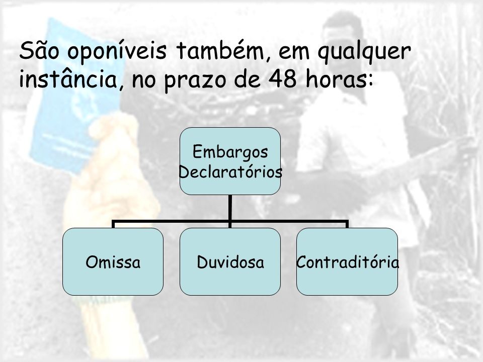 São oponíveis também, em qualquer instância, no prazo de 48 horas: Embargos Declaratórios OmissaDuvidosaContraditória