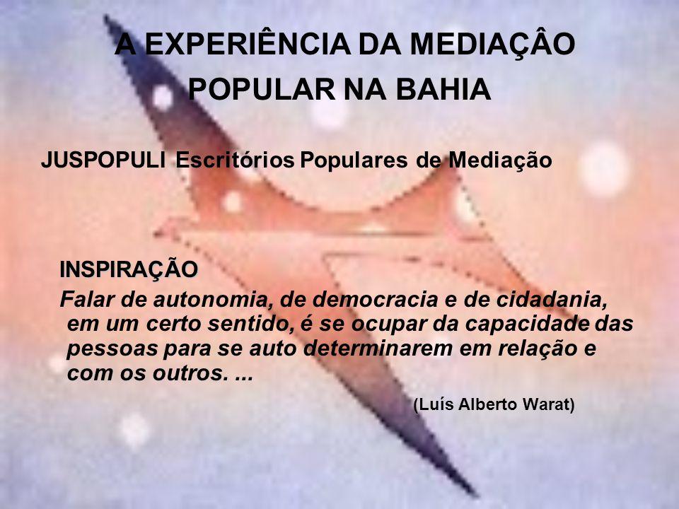 A EXPERIÊNCIA DA MEDIAÇÂO POPULAR NA BAHIA JUSPOPULI Escritórios Populares de Mediação INSPIRAÇÃO INSPIRAÇÃO Falar de autonomia, de democracia e de ci