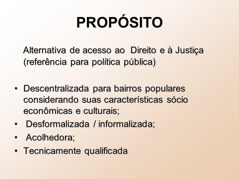 PROPÓSITO Alternativa de acesso ao Direito e à Justiça (referência para política pública) Alternativa de acesso ao Direito e à Justiça (referência par
