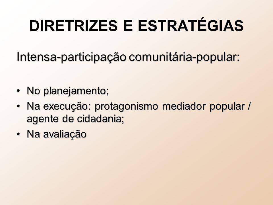 DIRETRIZES E ESTRATÉGIAS Intensa-participação comunitária-popular: No planejamentoNo planejamento; Na execução: protagonismo mediador popular / agente de cidadania;Na execução: protagonismo mediador popular / agente de cidadania; Na avaliaçãoNa avaliação