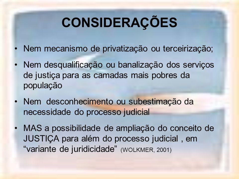CONSIDERAÇÕES Nem mecanismo de privatização ou terceirização; Nem desqualificação ou banalização dos serviços de justiça para as camadas mais pobres d