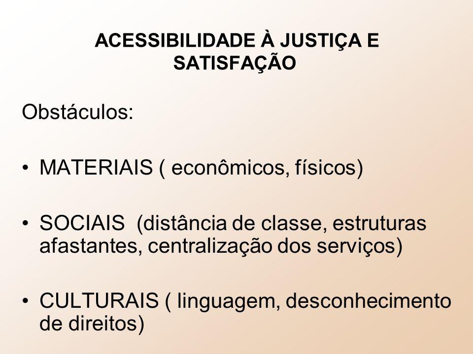 ACESSIBILIDADE À JUSTIÇA E SATISFAÇÃO Obstáculos: MATERIAIS ( econômicos, físicos) SOCIAIS (distância de classe, estruturas afastantes, centralização dos serviços) CULTURAIS ( linguagem, desconhecimento de direitos)