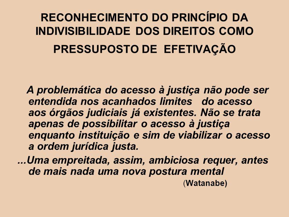 RECONHECIMENTO DO PRINCÍPIO DA INDIVISIBILIDADE DOS DIREITOS COMO PRESSUPOSTO DE EFETIVAÇÃO A problemática do acesso à justiça não pode ser entendida