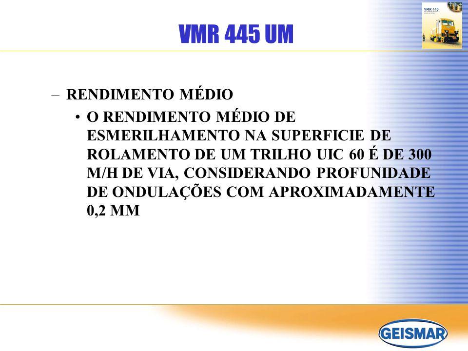 VMR 445 UM UNIDADE DE MEDIÇÃO DA CORRUGAÇÃO DOS TRILHOS A ESMERILHADORA VMR 445 ESTÁ EQUIPADA COM UM TROLE DE MEDIÇÃO DA CORRUGAÇÃO MONTADO NA FRENTE DO VEÍCULO.