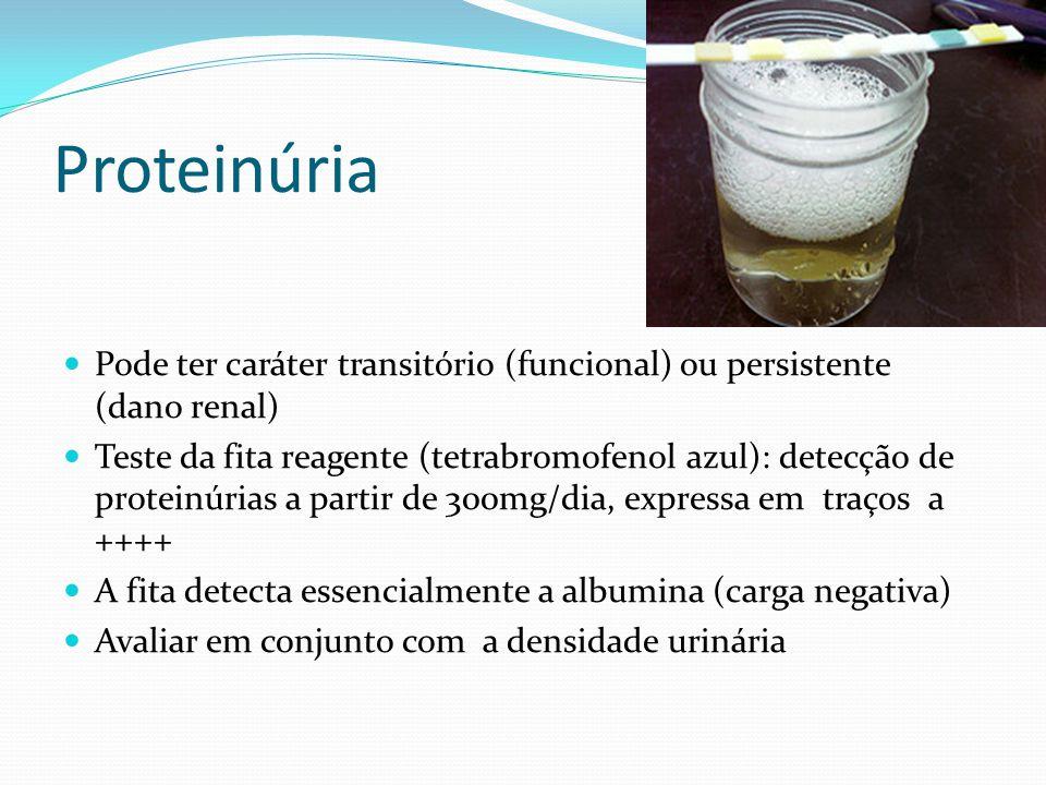 Proteinúria Pode ter caráter transitório (funcional) ou persistente (dano renal) Teste da fita reagente (tetrabromofenol azul): detecção de proteinúri
