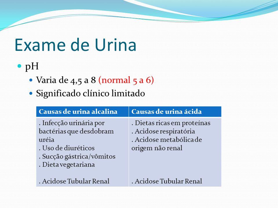 Exame de Urina pH Varia de 4,5 a 8 (normal 5 a 6) Significado clínico limitado Causas de urina alcalinaCausas de urina ácida.