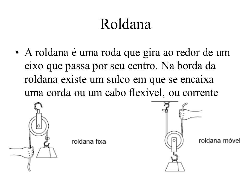 Roldana A roldana é uma roda que gira ao redor de um eixo que passa por seu centro. Na borda da roldana existe um sulco em que se encaixa uma corda ou