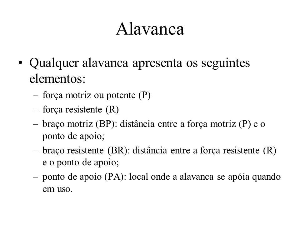 Alavanca Qualquer alavanca apresenta os seguintes elementos: –força motriz ou potente (P) –força resistente (R) –braço motriz (BP): distância entre a