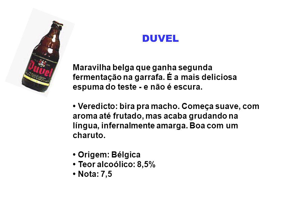 DUVEL Maravilha belga que ganha segunda fermentação na garrafa. É a mais deliciosa espuma do teste - e não é escura. Veredicto: bira pra macho. Começa
