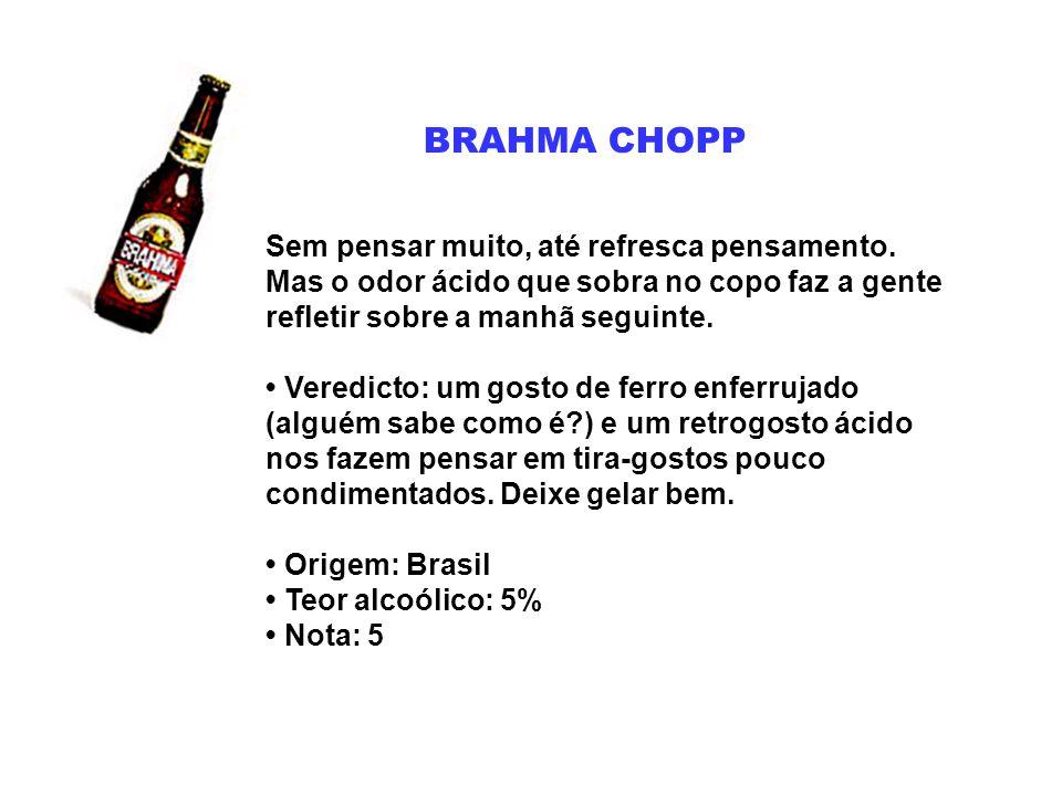 BRAHMA EXTRA O aroma característico deixa a Extra da Brahma o mais próximo do que se poderia chamar de maresia engarrafada.