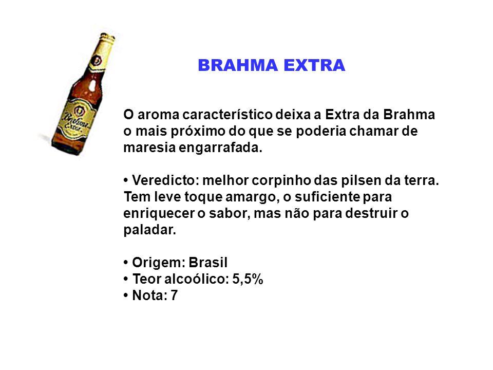 BRAHMA EXTRA O aroma característico deixa a Extra da Brahma o mais próximo do que se poderia chamar de maresia engarrafada. Veredicto: melhor corpinho