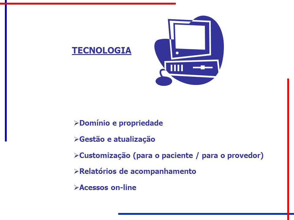 TECNOLOGIA  Domínio e propriedade  Gestão e atualização  Customização (para o paciente / para o provedor)  Relatórios de acompanhamento  Acessos