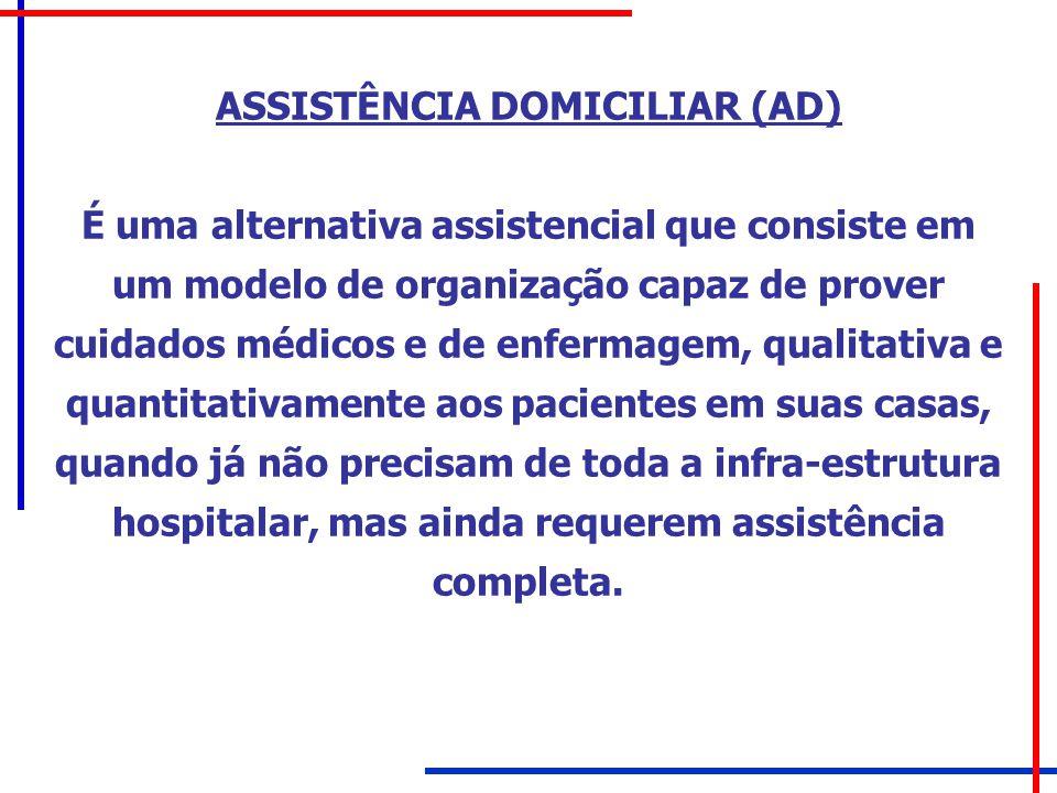 ASSISTÊNCIA DOMICILIAR (AD) É uma alternativa assistencial que consiste em um modelo de organização capaz de prover cuidados médicos e de enfermagem,