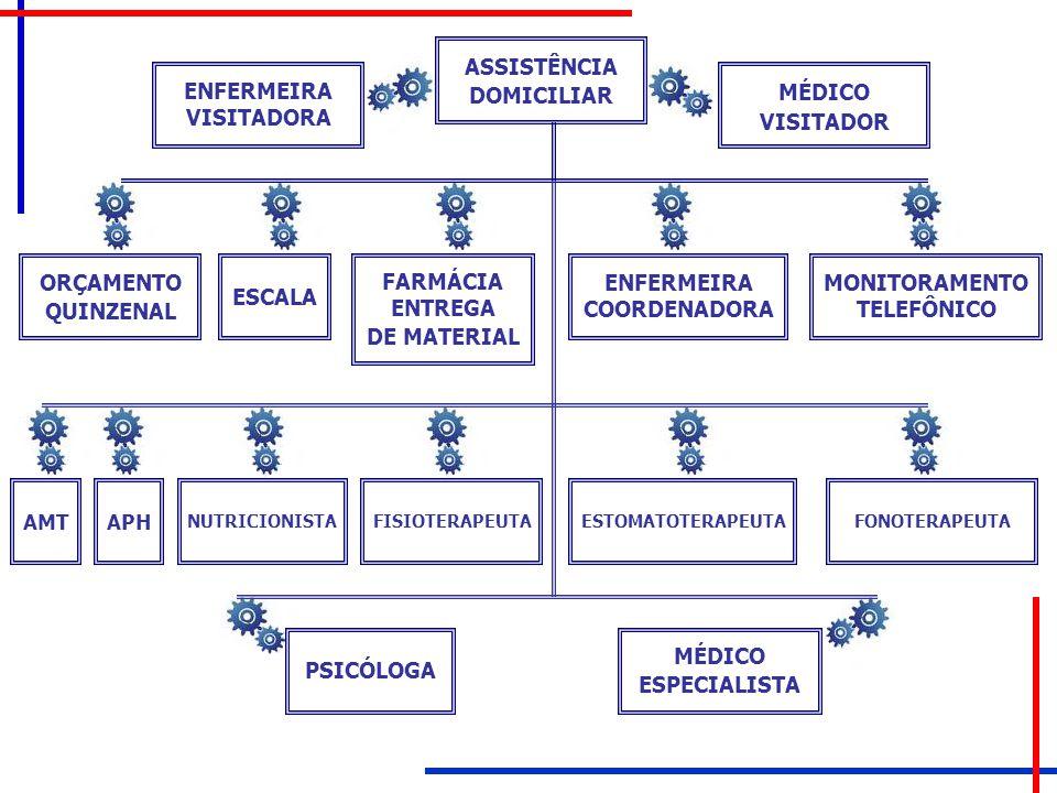 ASSISTÊNCIA DOMICILIAR ENFERMEIRA VISITADORA MÉDICO VISITADOR ORÇAMENTO QUINZENAL ESCALA FARMÁCIA ENTREGA DE MATERIAL ENFERMEIRA COORDENADORA MONITORA